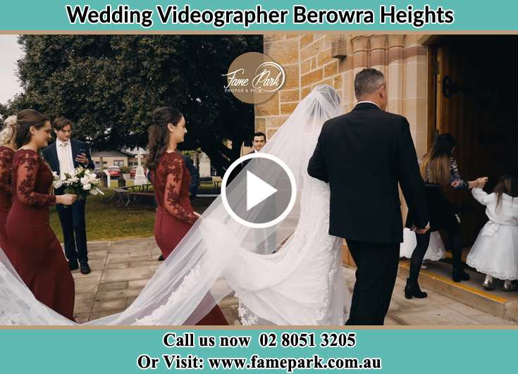 Bride and her father walking at the church entrance Berowra Heights NSW 2082