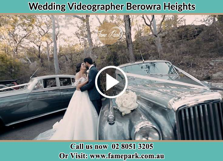 Bride and Groom looking at each other near their bridal car Berowra Heights NSW 2082