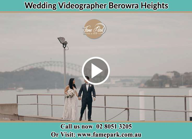 Bride and Groom looking at each other at the bay Berowra Heights NSW 2082