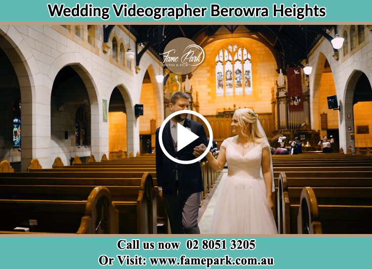 Bride and Groom walking at the aisle Berowra Heights NSW 2082
