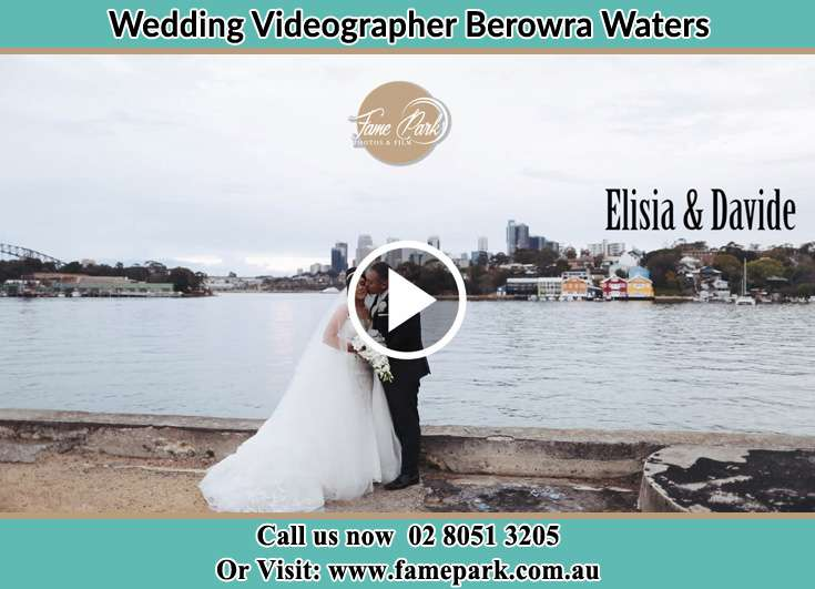 Bride and Groom kissed near the bay Berowra Waters NSW 2082