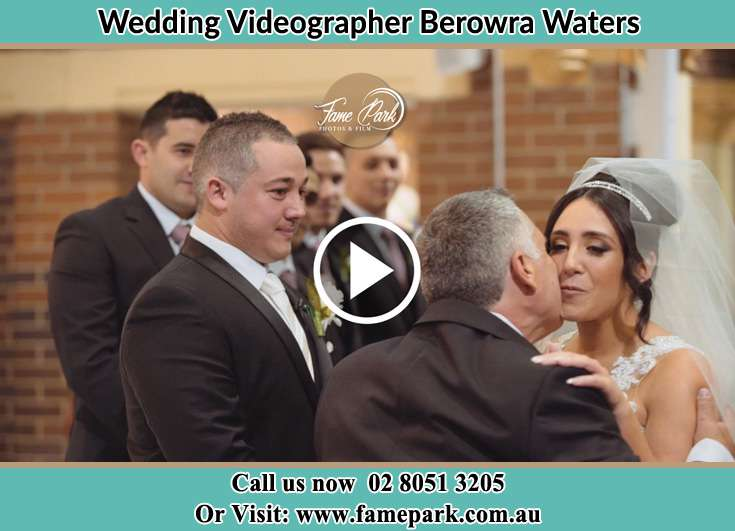 Bride and her father at the ceremony Berowra Waters NSW 2082