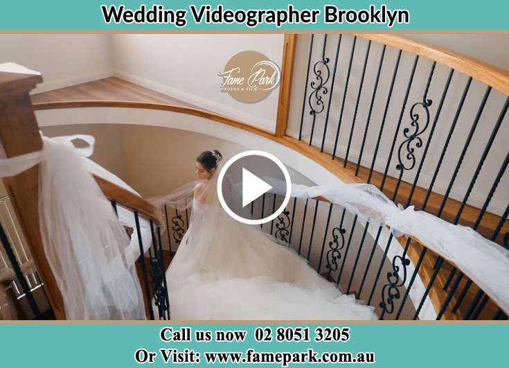 Bride walking down the staircase Brooklyn NSW 2083
