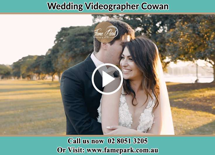 Bride and Groom hold each other at the park Cowan NSW 2081