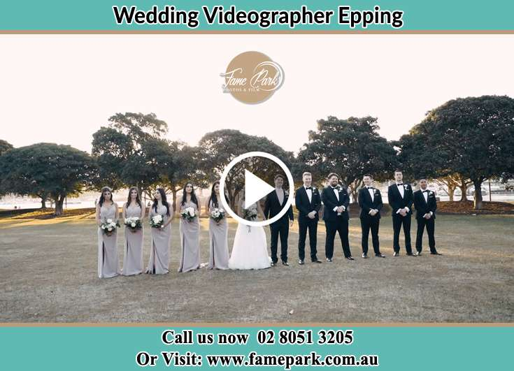 Bride and Groom with their secondary sponsors at the park Epping NSW 2121