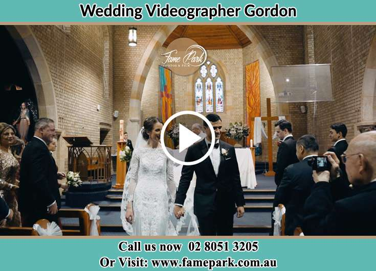 The newlyweds leaving the wedding venue Gordon NSW 2072