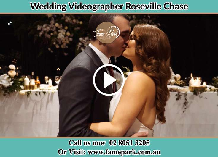 The newlyweds kissing Roseville Chase NSW 2069